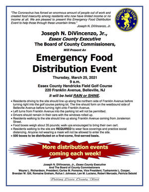 Essex County Announces Emergency Food Distribution Event on Thursday, March 25