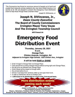 Next Essex County Food Distribution in Irvington on Jan. 28