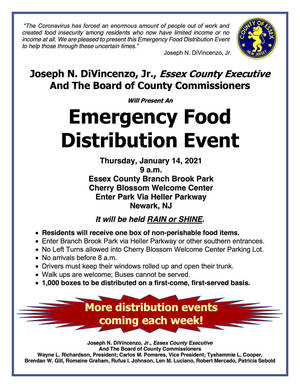 Essex County Food Distribution at Branch Brook Park on Jan. 14