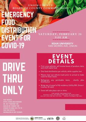 UPDATE: COVID-19 Emergency Food Distribution Moved from VoTech in Scotch Plains to Kean U on Sat, Feb. 20