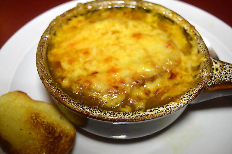 French onion soup at The Fanwood Grille