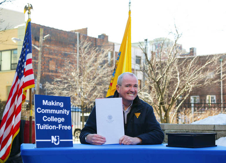 Gov. Murphy signs legislation to make free community college tuition available to students whose family income is below $65,000/year.