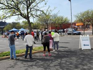Residents line up at the Somerset County pop-up clinic in Bound Brook. Somerset County is hosting ten separate clinics throughout the county the week of May 10.