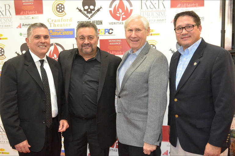Fanwood Lt. Frank Marrero, film star Garry Pastore, Scotch Plains Mayor Al Smith, and Police Chief Conley at the red carpet screening of 'Shooting Heroin' on Thursday, Nov. 14, 2019.
