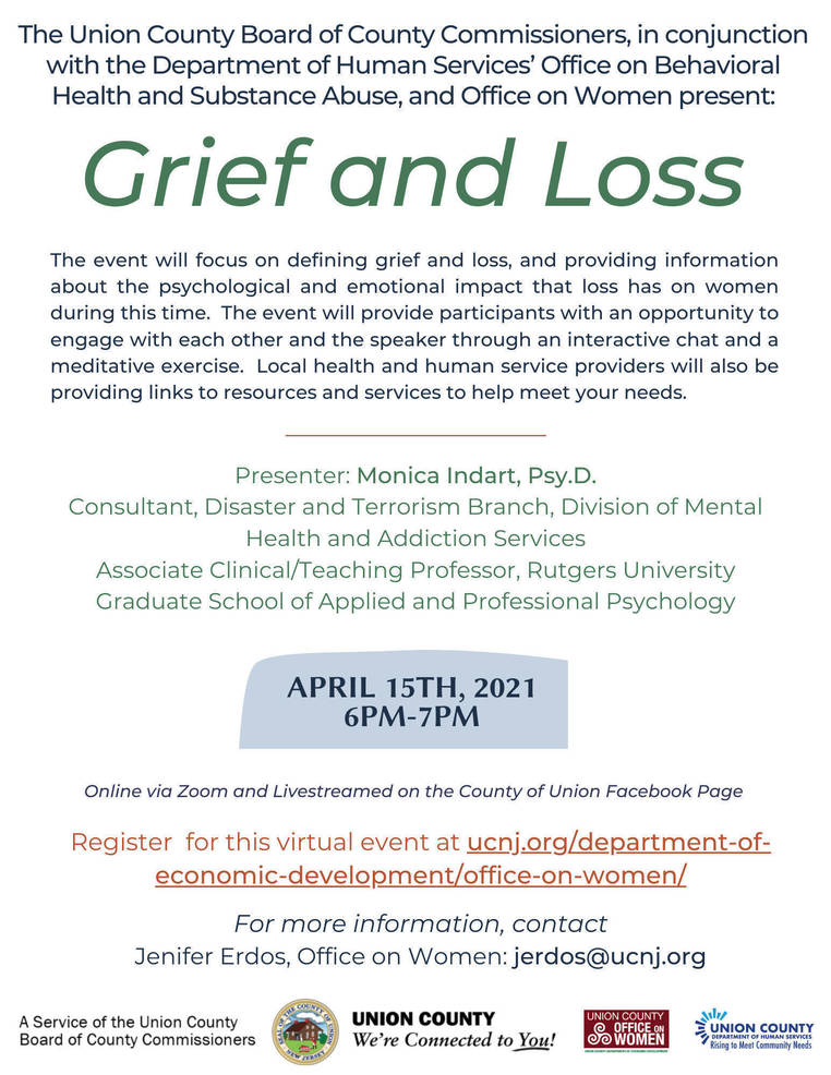 """Union County to Hold """"Grief and Loss,"""" an Interactive Program for Women"""