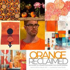 Grid of seven images of fine art using the color orange with the Orange Reclaimed title and information