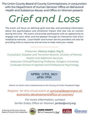 "Union County Presents ""Grief and Loss,"" an Interactive Program for Women"