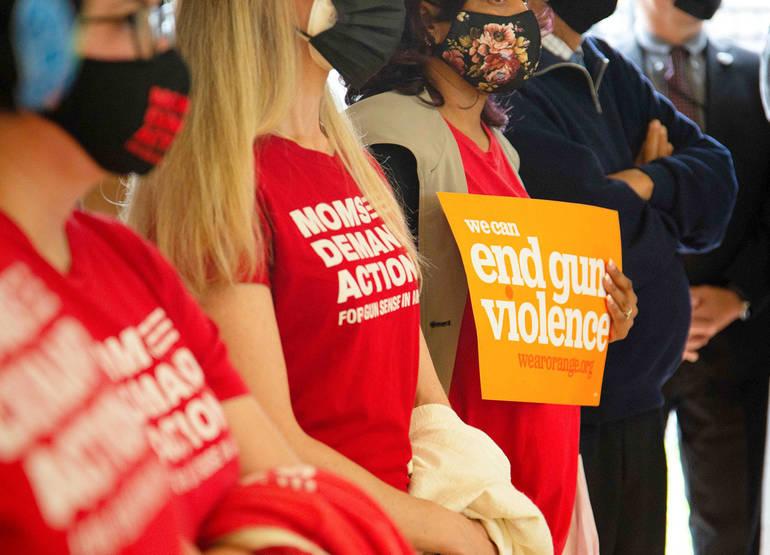 Supporters of gun control applaud Gov. Murphy's proposals.