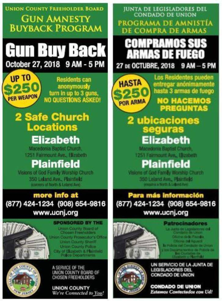 Reminder: Turn In Unwanted Guns at Union County Gun Buyback Event