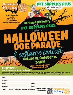 Florham Park Rotary to Host Halloween Dog Parade on Saturday October 16th