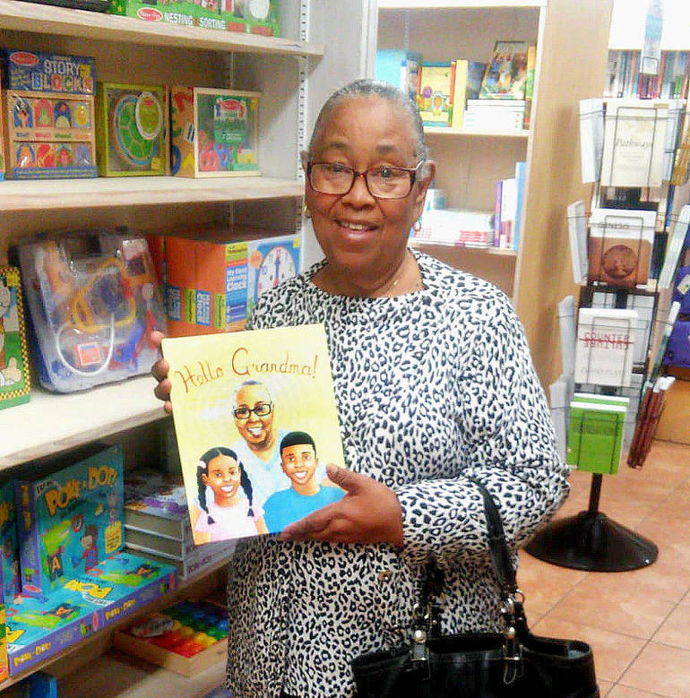 Hello Grandma! - Scotch Plains native Robert Constant's mom in the Bahamas with the book that features her on the cover.