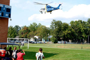 Emergency medical helicopter takes off from Scotch Plains-Fanwood High School on Monday afternoon.
