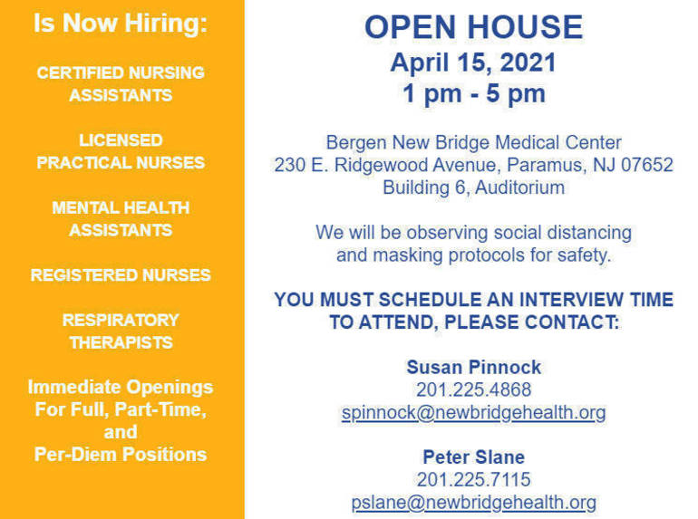 Careers in Health Care: Bergen New Bridge Medical Center Holding Open House