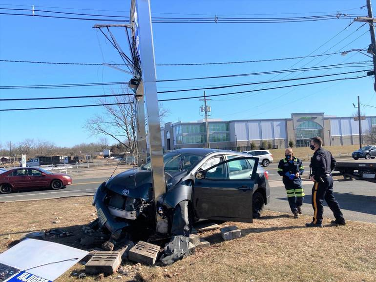 Hillsborough: Stanchions Wedge Car After It Veers Off Route 206