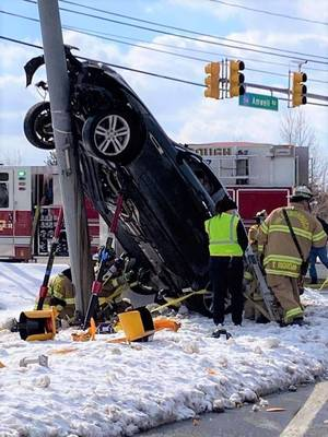 """Amwell Road: Car """"Climbs"""" Utility Pole After Leaving Roadway"""