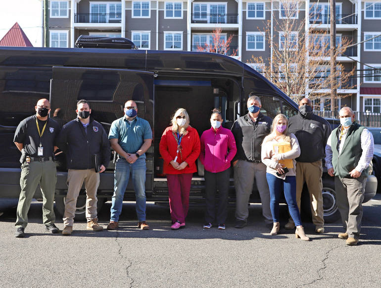 Somerset County's Department of Health homebound COVID scheduling and vaccination teams prepare for the first day of delivering J&J one-dose vaccines to residents unable to travel to a clinic.