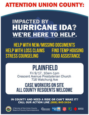 Union County Continues Disaster Relief Pop-Up Sessions for Residents Affected by Hurricane Ida, Sept. 17 in Plainfield (updated)