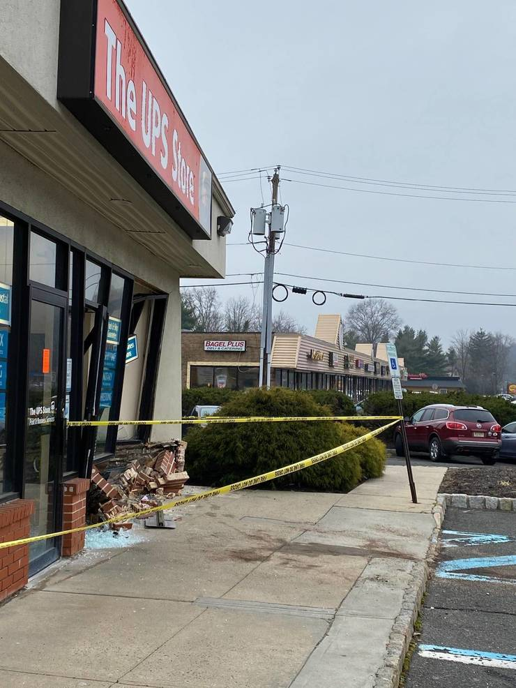 A car crashed into the front door of the UPS store on Route 22 East in Scotch Plains on Friday morning.