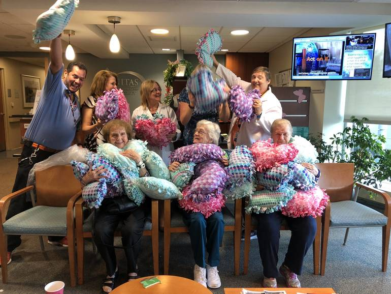 Heart Pillows Donated to Trinitas Radiation Oncology Department by Seniors from Atria Senior Living Center in Cranford