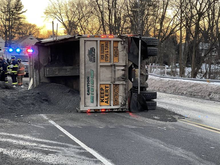 Madison Hill Road in Clark Closed During Wednesday Morning Rush After Dump Truck Flips
