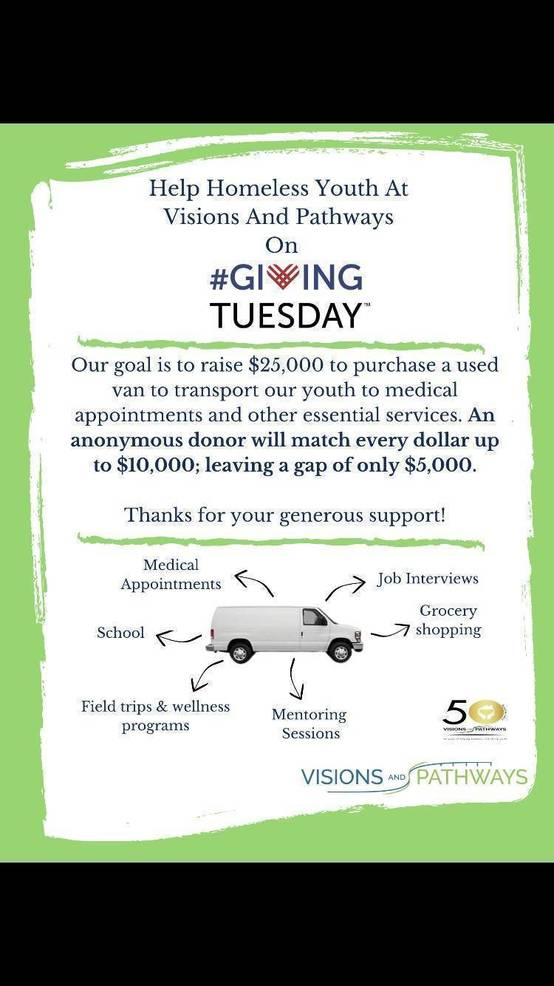 Help Homeless Youth at Visions and Pathways on Giving Tuesday