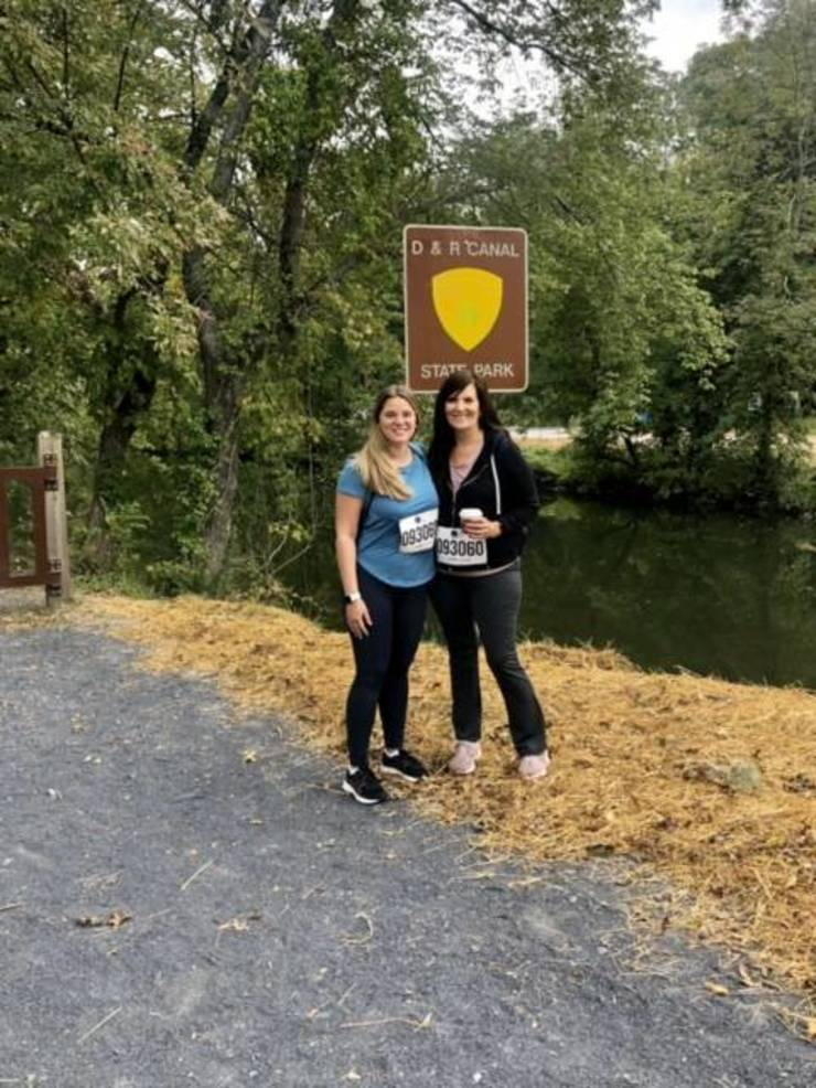 Kathy with her daughter Hannah at the beginning of their journey on the D & R Canal