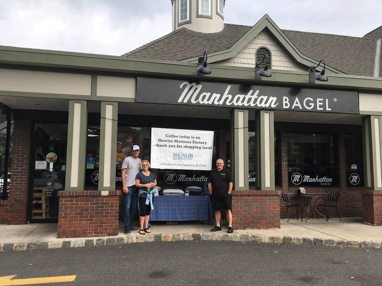 Shovlin Mattress Factory Buys Everyone's Coffee at Westfield Manhattan Bagel Saturday