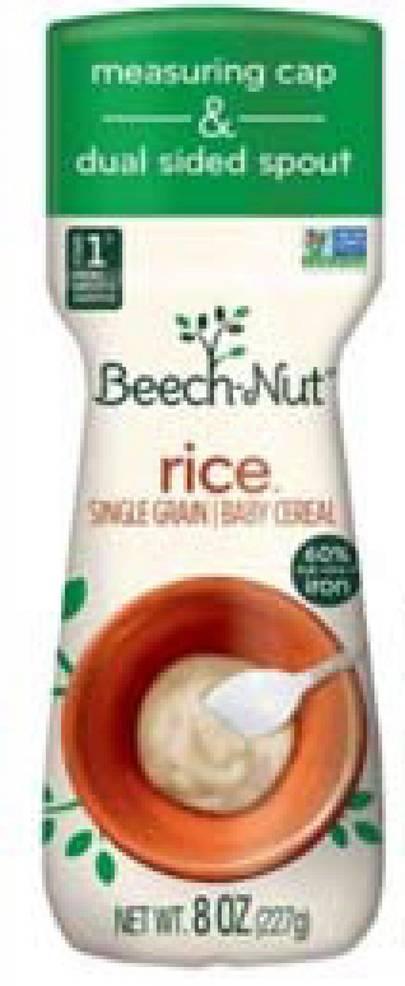 Best crop 80a199af08c51b874224 230bc490f2462cccb075 69e4a5faab2751306136 77fe1ddb59587d2ddde2 image   beech nut rice single graine baby cereal  net wt 8 oz.    bottle front