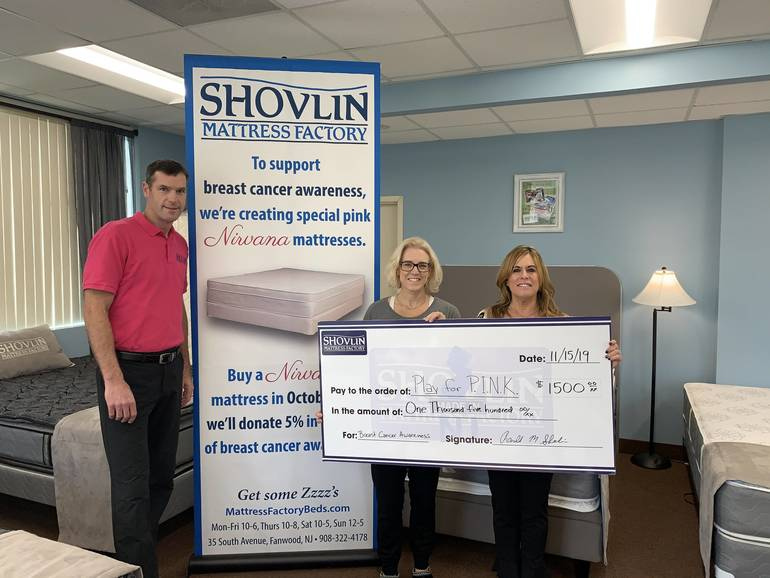 Shovlin Mattress Factory in Fanwood Donates $1,500 to Breast Cancer Research