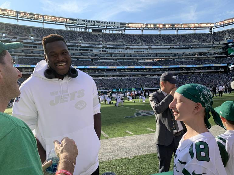 New York Jets OL Kelechi Osemele and Ellie Manheim