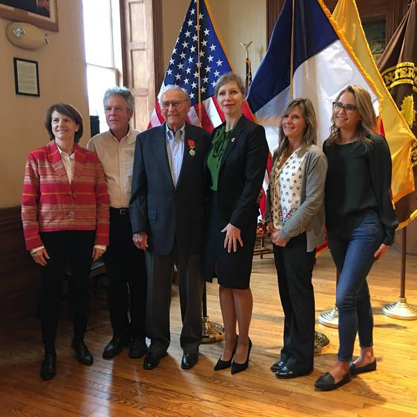 Honoaray French Consul for New Jersey Anne De Broca, David Paller (son), John Paller, Consul General Anne-Clair Legendre, Ginny Dean (daughter), Megan Farah (granddaughter).