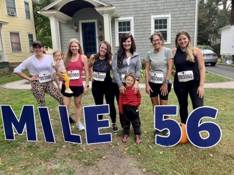 Kathy was joined by her daughters (Katie and Hannah) niece and grandchildren at the last stop in Cranford before the finish line
