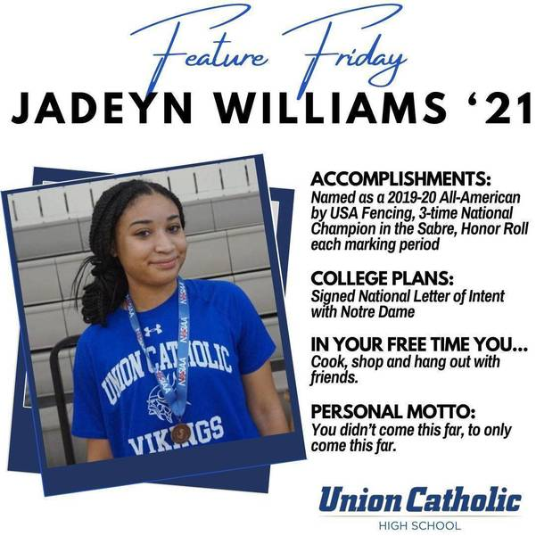 Union Catholic Fencing Star Jadeyn Williams Signs Her National Letter of Intent with Notre Dame
