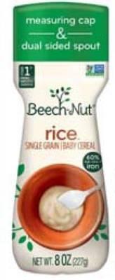 Carousel image e2fbc22ce1b67e63be61 230bc490f2462cccb075 69e4a5faab2751306136 77fe1ddb59587d2ddde2 image   beech nut rice single graine baby cereal  net wt 8 oz.    bottle front