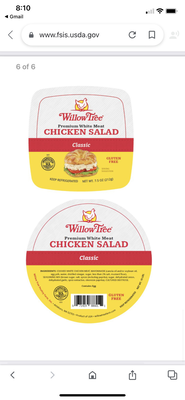 Chicken Salad and Dip From Willow Tree Poultry Farm Recalled Due to Possible Foreign Matter
