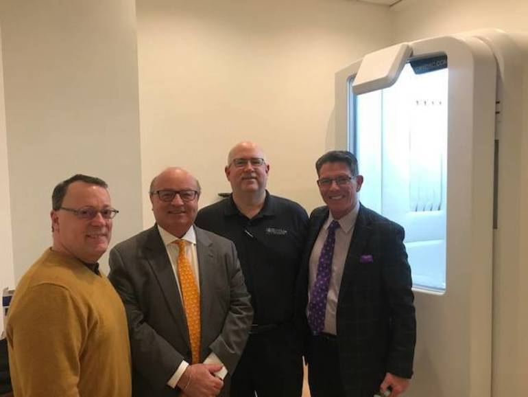 JAMES SCAVONE, EXEC. DIR. OF RED BANK RIVERCENTER,  MAYOR PAT MENNA, CHILLRx OWNER PAUL MUSHO & ROB LOWE of FAMILY FIRST FUNDING.JPG
