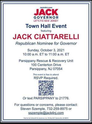 Jack Ciattarelli is Coming to Parsippany for a Town Hall Meeting This Sunday