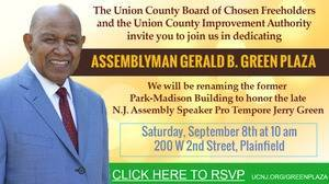 Dedication of Plainfield's Assemblyman Gerald B. Green Plaza to be Held Sept. 8