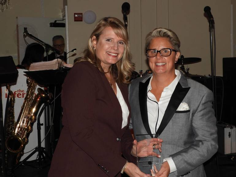 Jennifer Lakefield, recipient of the YMCA Visionary Award with Laurie Goganzer, YMCA President & CEO.jpg