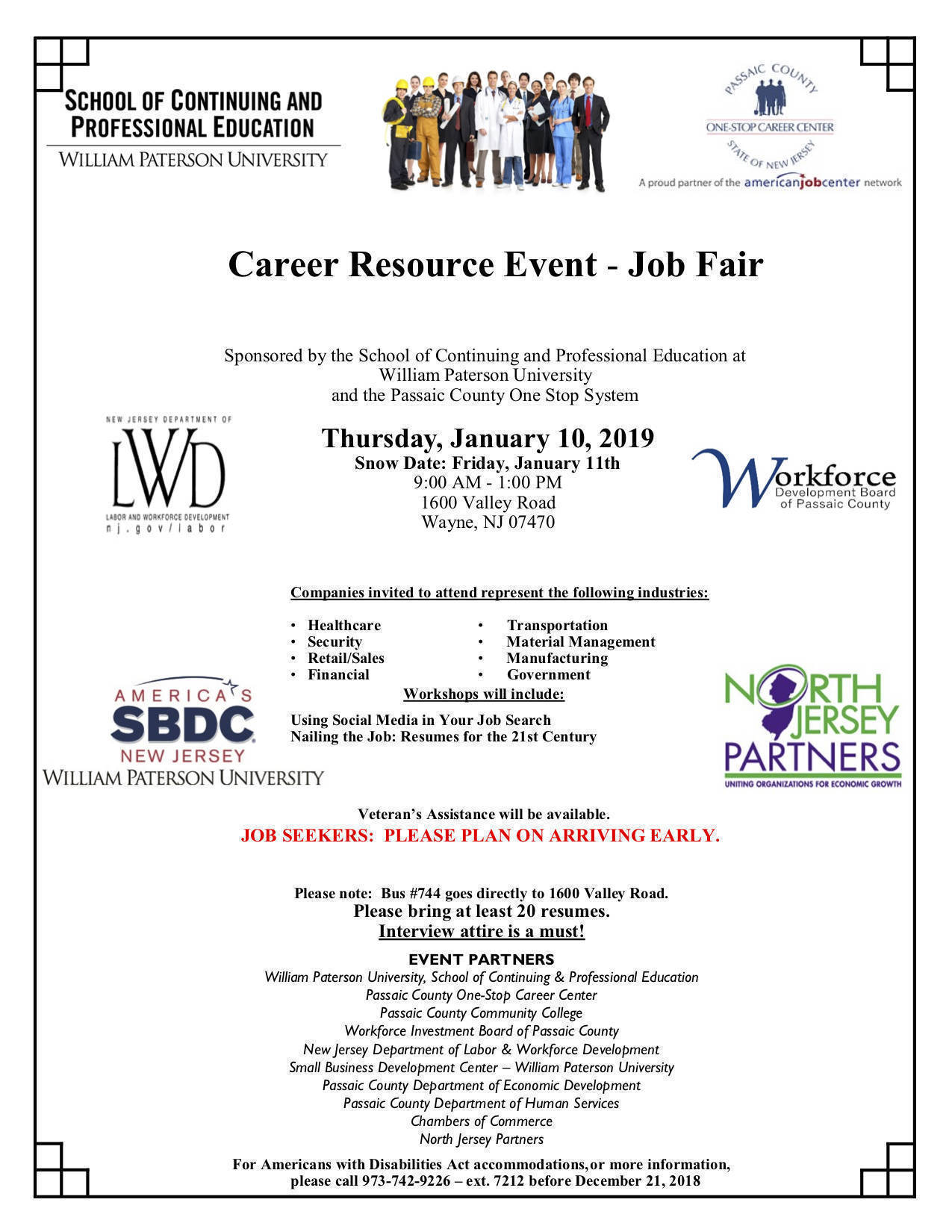 Career Resource, Job Fair To Be Hosted At William Paterson ...