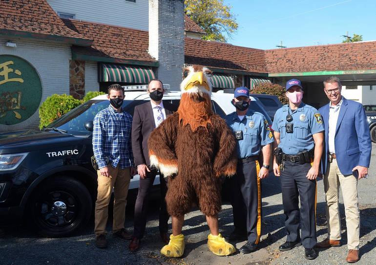 JP Stevens Eagle with Fanwood police officers.