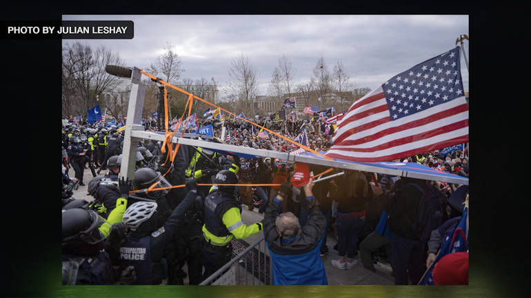 Police Attacked with Trump Sign