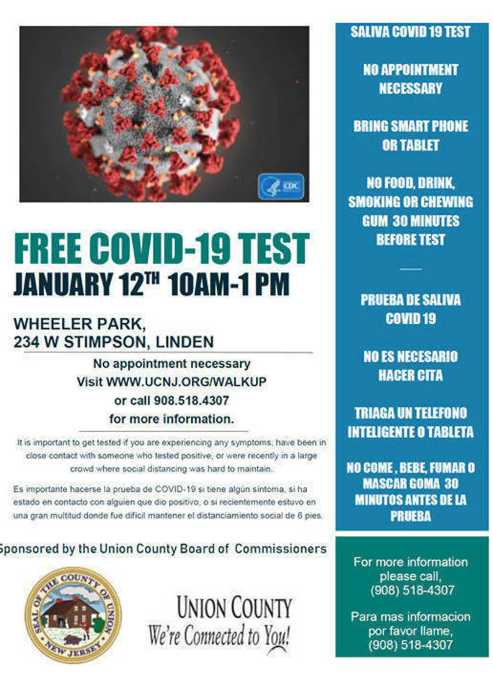 Walk-up Covid-19 Test in Linden, January 12