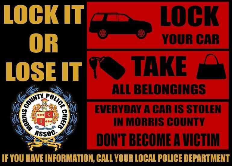 Morris County Sheriff Reminds Residents to Stay Alert and Reduce Potential Vehicle Thefts, Burglaries