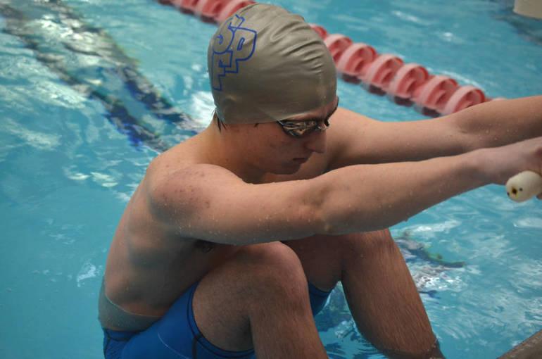 Scotch Plains-Fanwood senior Lucas Route prepares to swim in the 100 Backstroke.