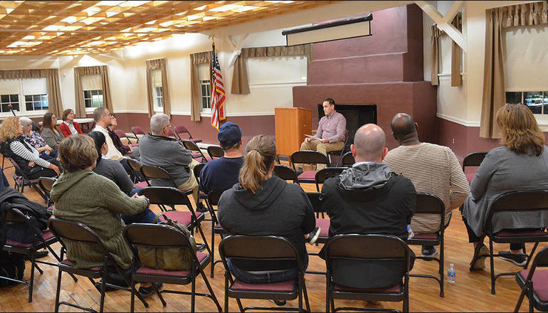 Michael Mautone talks about child sex abuse at a presentation he hosted in Scotch Plains.
