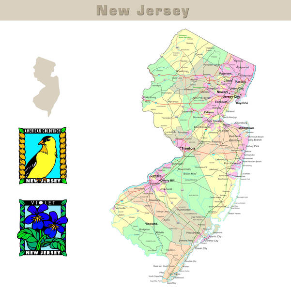 Map of New Jersey NJ