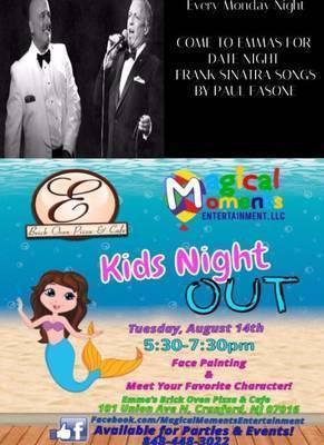 Monday Date Nights and Tuesday Kids Night at Emmas Brick Oven