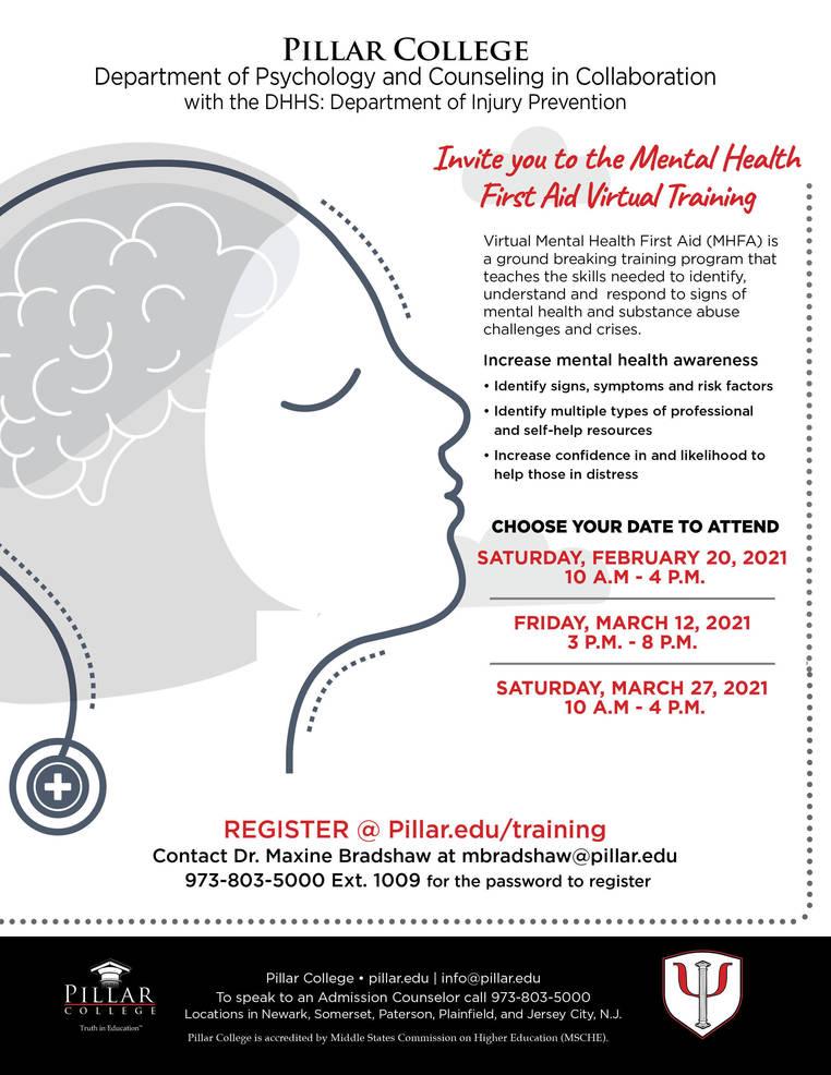 Pillar College ToHost Free Virtual Mental Health First Aid Training