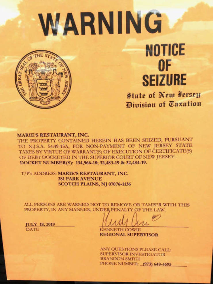 Notice of seizure at Maria's Pizza in Scotch Plains